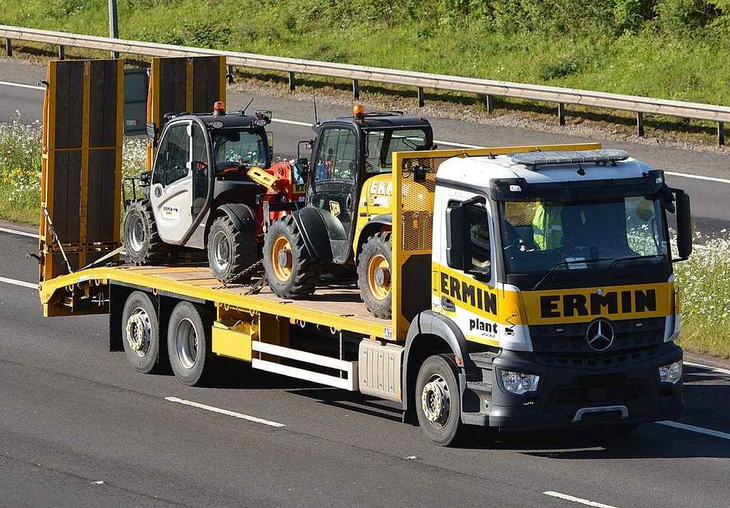 Loaded Mercedes lorry on the road