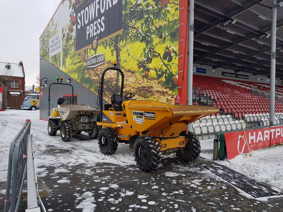Dumpers at Gloucester Rugby Club Kingsholm in the snow