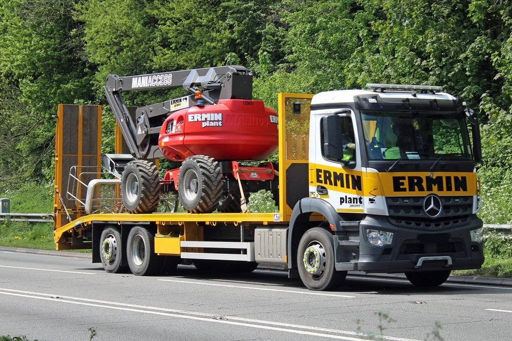 Loaded Mercedes lorry on the road with Manitou 200ATJ